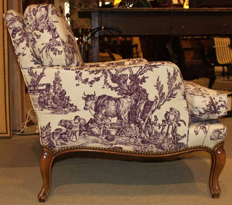 Pair Of Vintage Toile De Jouy Bergere Extra Wide Lounge