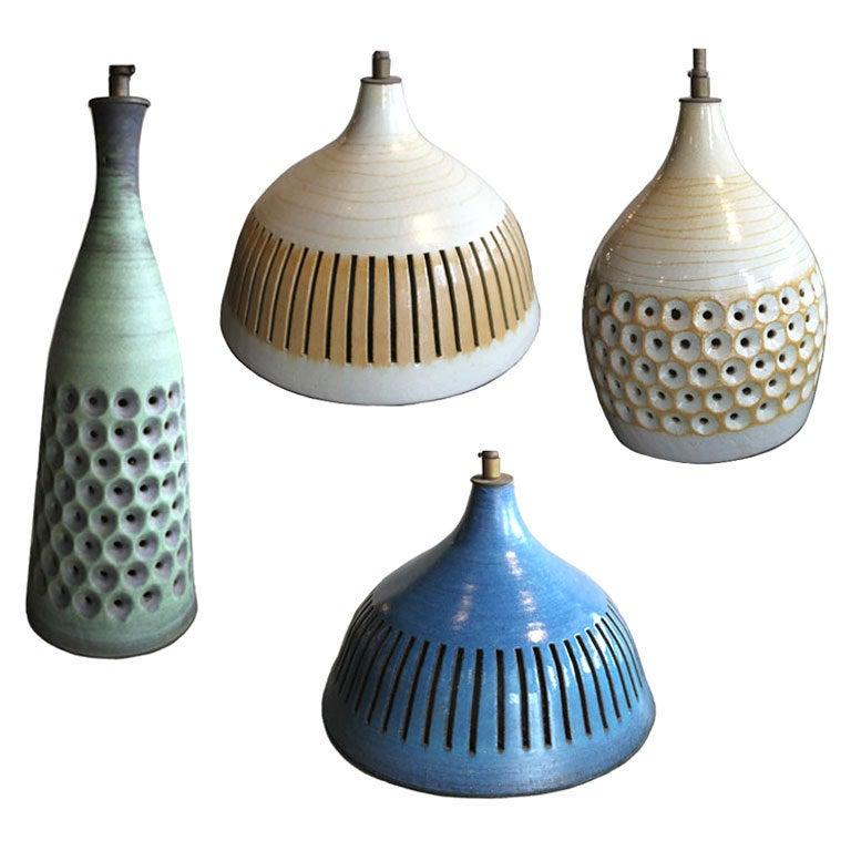 Four Mid Century Ceramic Pendant Lights At 1stdibs