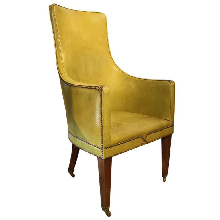High Back Leather Arm Chair At 1stdibs
