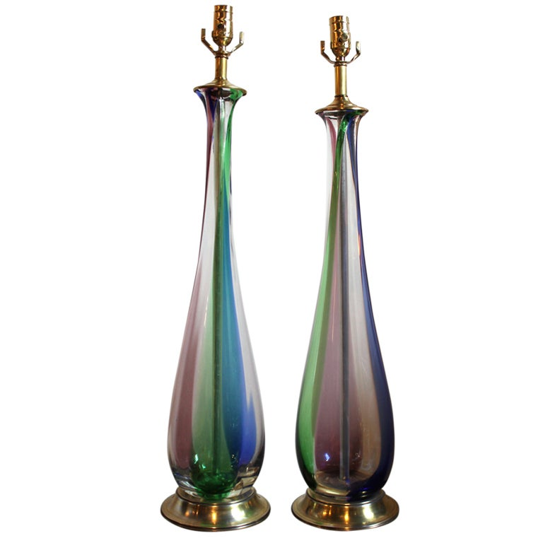 pair of tricolor blown glass table lamps at 1stdibs. Black Bedroom Furniture Sets. Home Design Ideas
