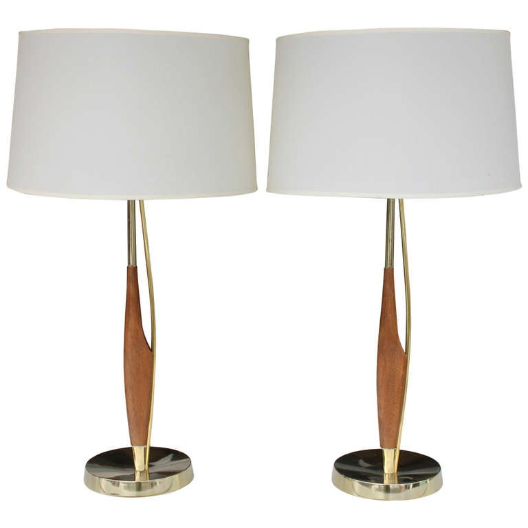 this mid century modern table lamps by lightolier pair is no longer