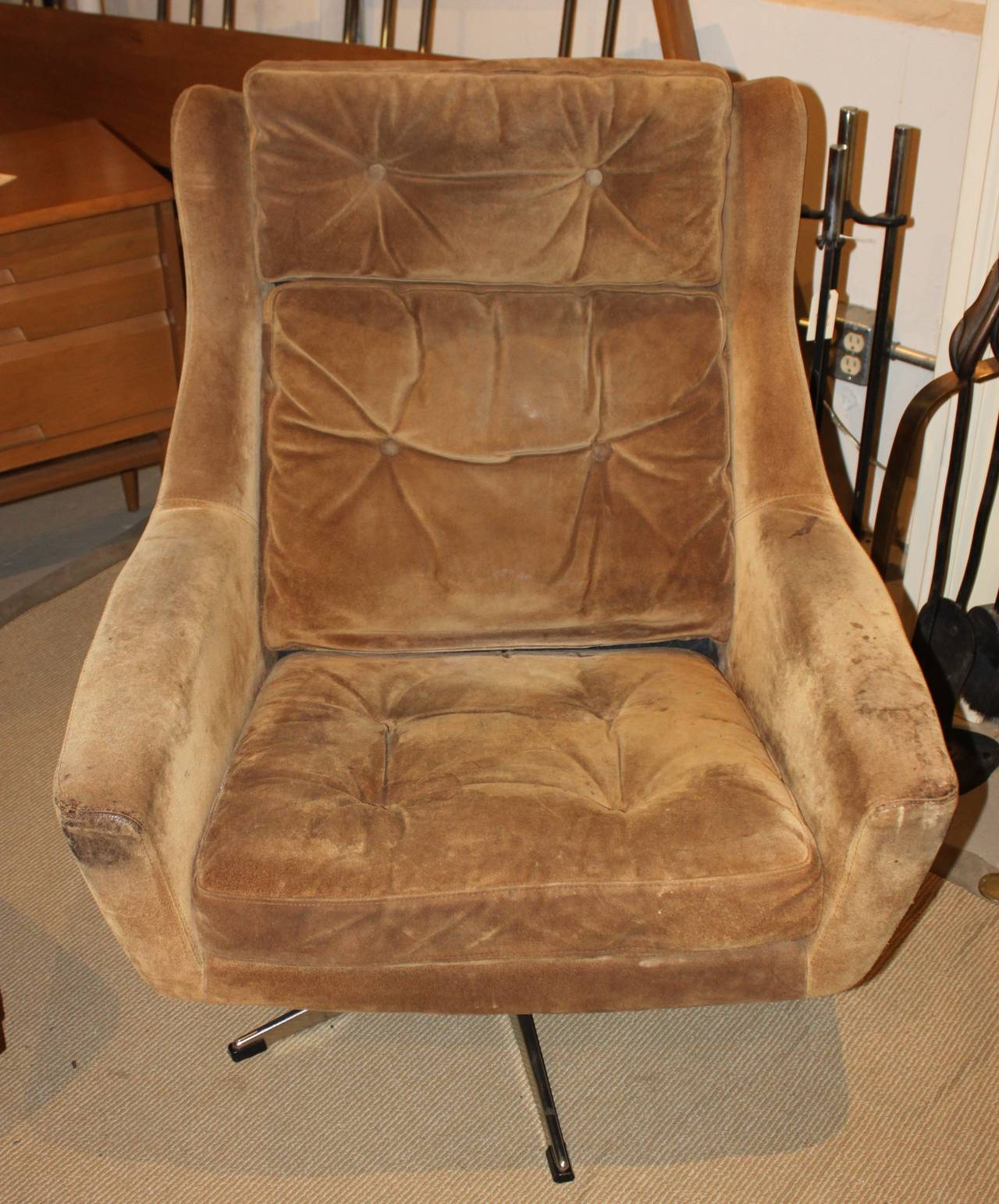 Mid Century Modern Overman Lounge Chair with Ottoman at 1stdibs