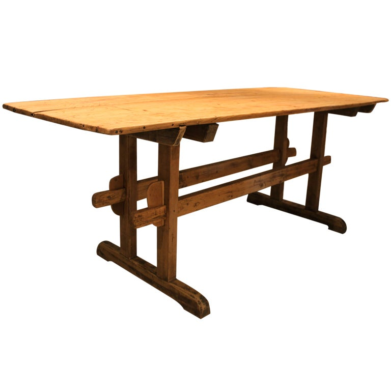 Farmhouse Trestle Table at 1stdibs