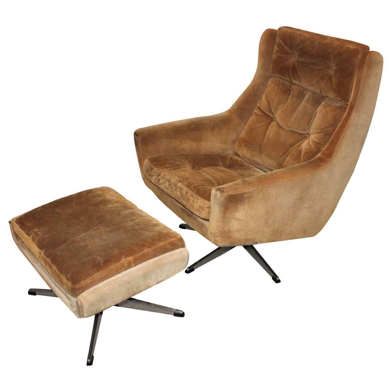 Lounge Designer Furniture: Mid-Century Modern Overman Lounge Chair With Ottoman At