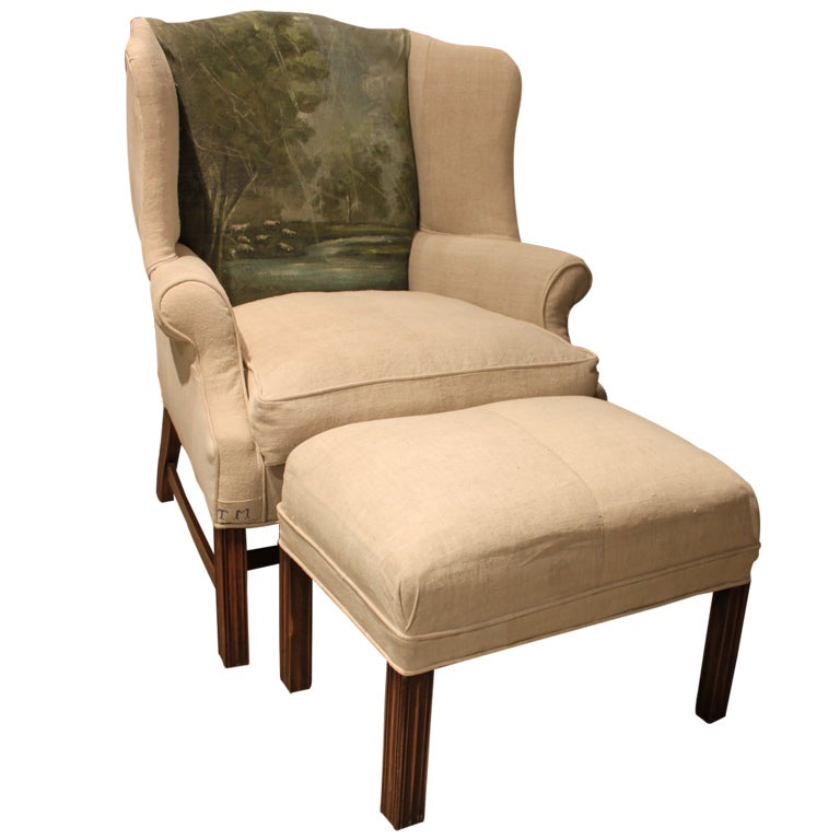 Bespoke Wing Chair and Ottoman at 1stdibs