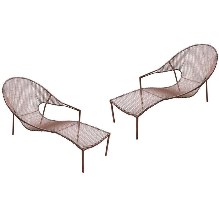 Pair Of Steel Chaises By Farancis Mair At 1stdibs