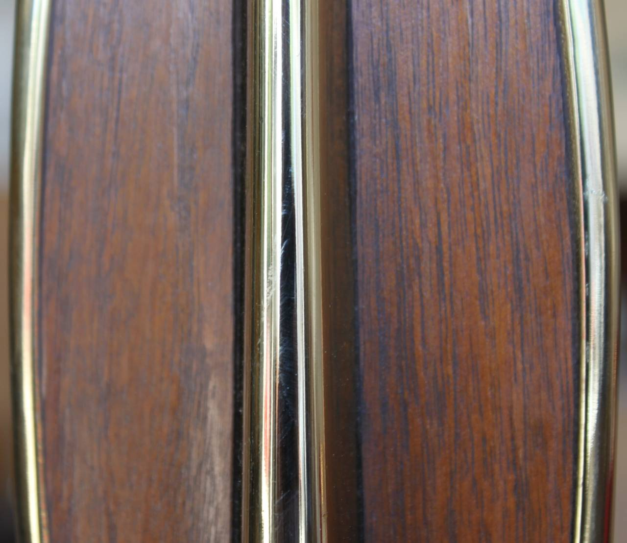 American Mid-Century Modern Brass and Teak Lamps, Pair For Sale