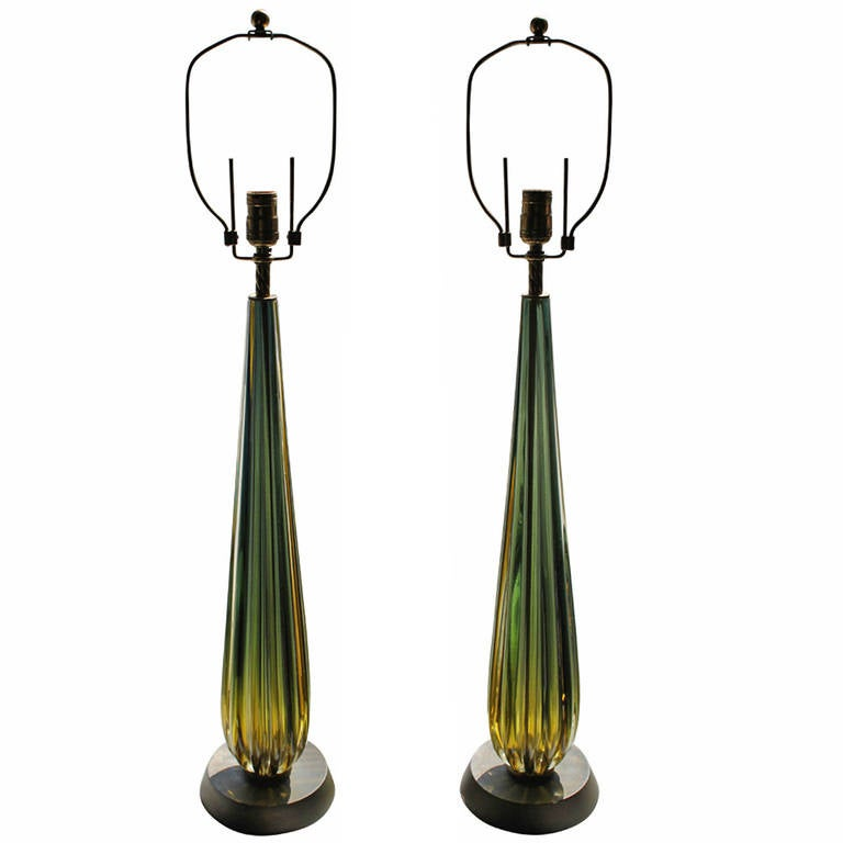 Pair of Luminous Solid, Pulled Murano Glass Lamps