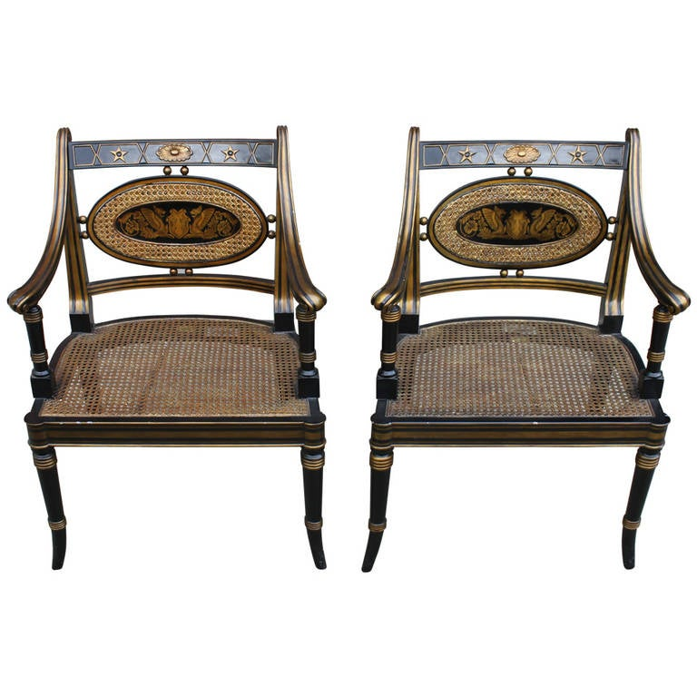 Regency Style Armchairs Pair For Sale at 1stdibs