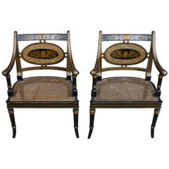 Regency Style Armchairs, Pair
