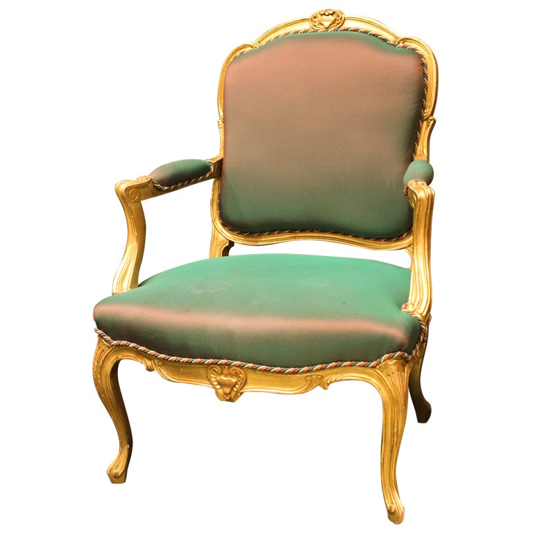 louis xv style gilt wood fauteuil at 1stdibs. Black Bedroom Furniture Sets. Home Design Ideas