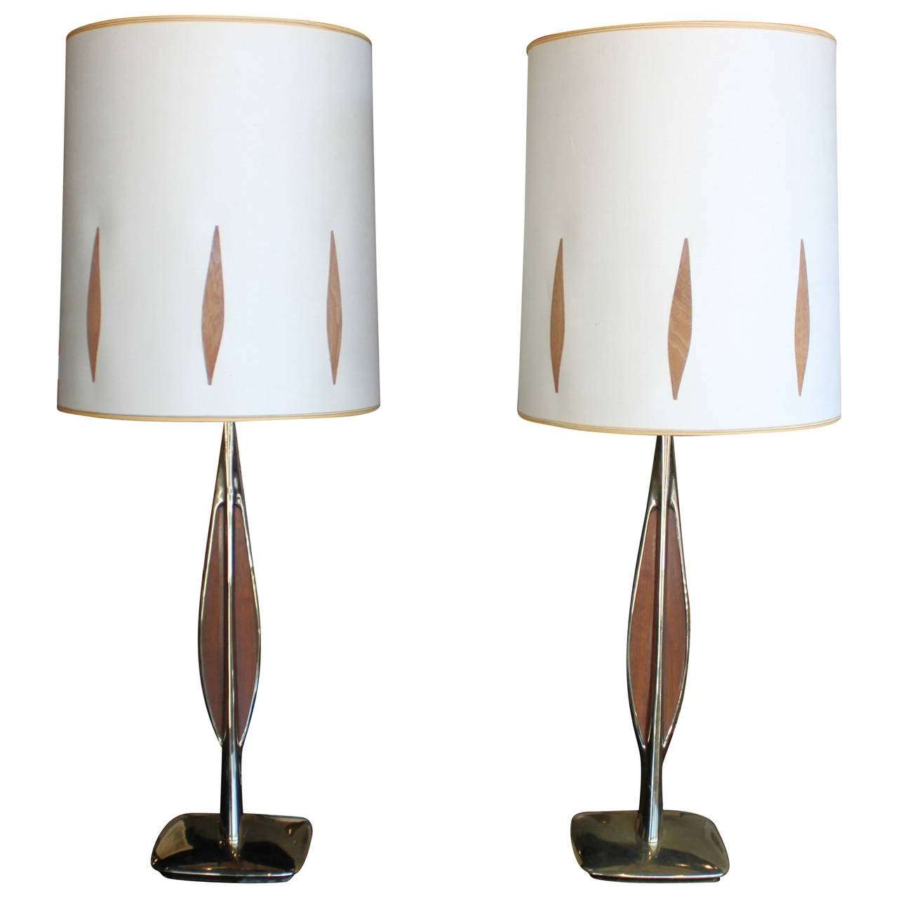 Mid-Century Modern Brass and Teak Lamps, Pair For Sale