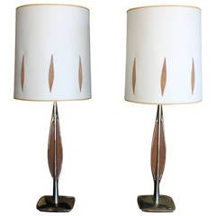 Mid-Century Modern Brass and Teak Lamps, Pair