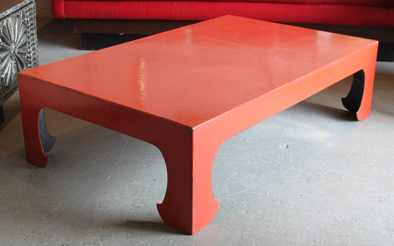 Vintage red coral lacquered Chinese coffee table. Beautiful simple design. Zen inspired.