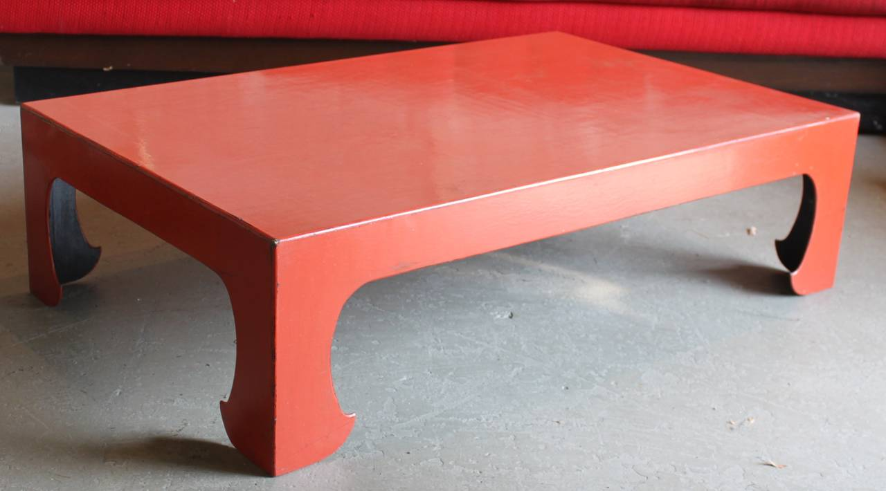 Vintage Red Coral Lacquered Chinese Coffee Table For Sale 3