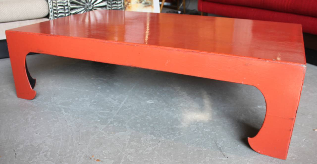 Vintage Red Coral Lacquered Chinese Coffee Table In Good Condition For Sale In Hudson, NY