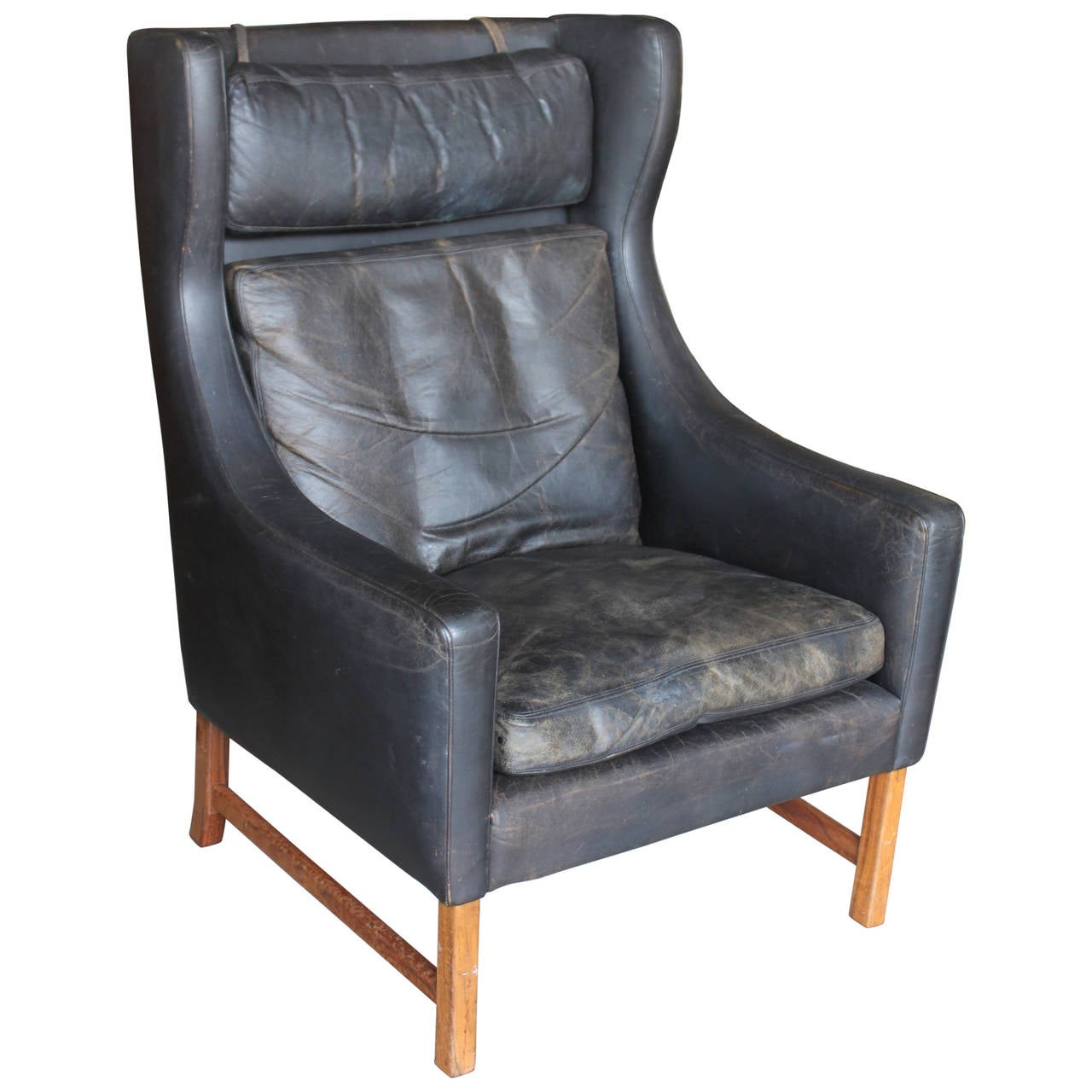 Vintage Norwegian Leather Wingback Chair 1 - Vintage Norwegian Leather Wingback Chair At 1stdibs