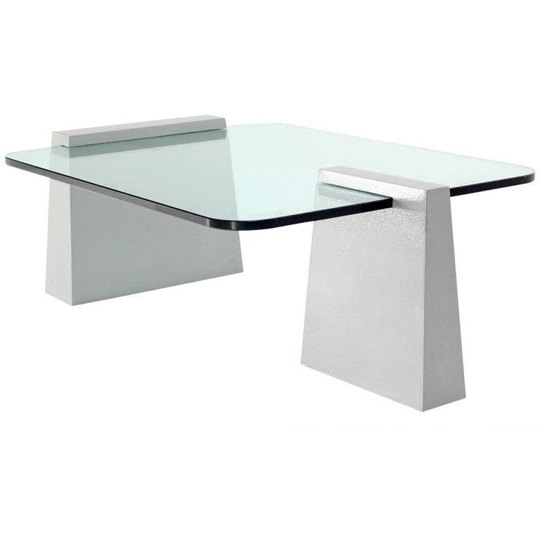 Modern Round Edge Rectangular Geometric Coffee Table At 1stdibs