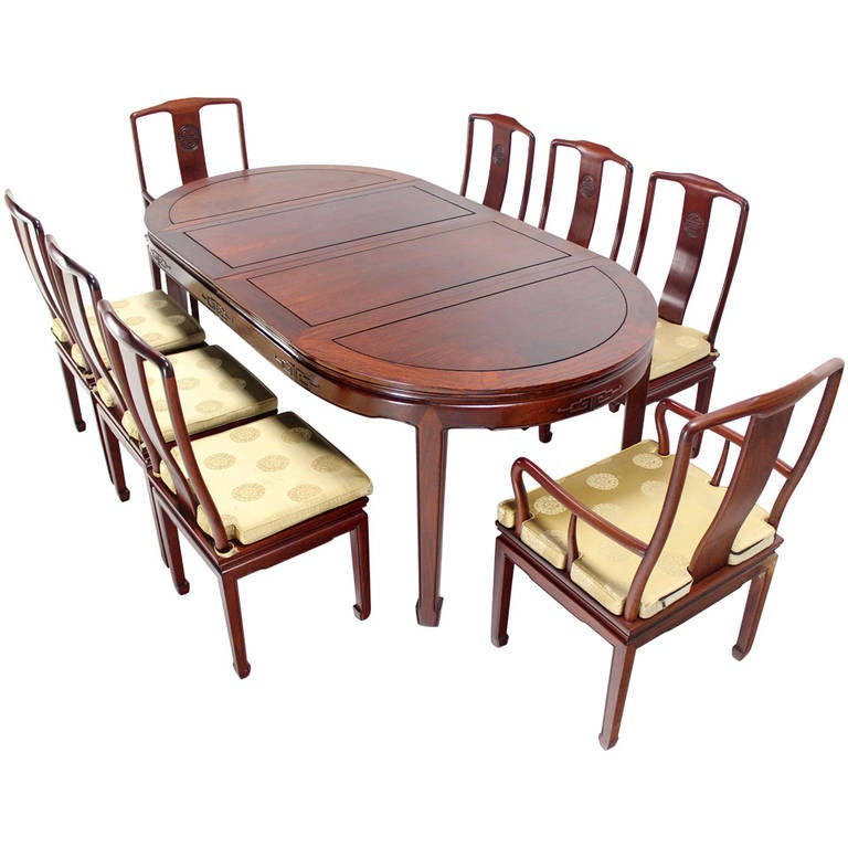 Oriental Modern Solid Rosewood Dining Set Table Eight Chairs 2 Extensions Leafs For