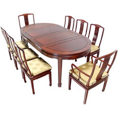 Oriental Modern Solid Rosewood Dining Set Table Eight Chairs 2 Extensions Leafs