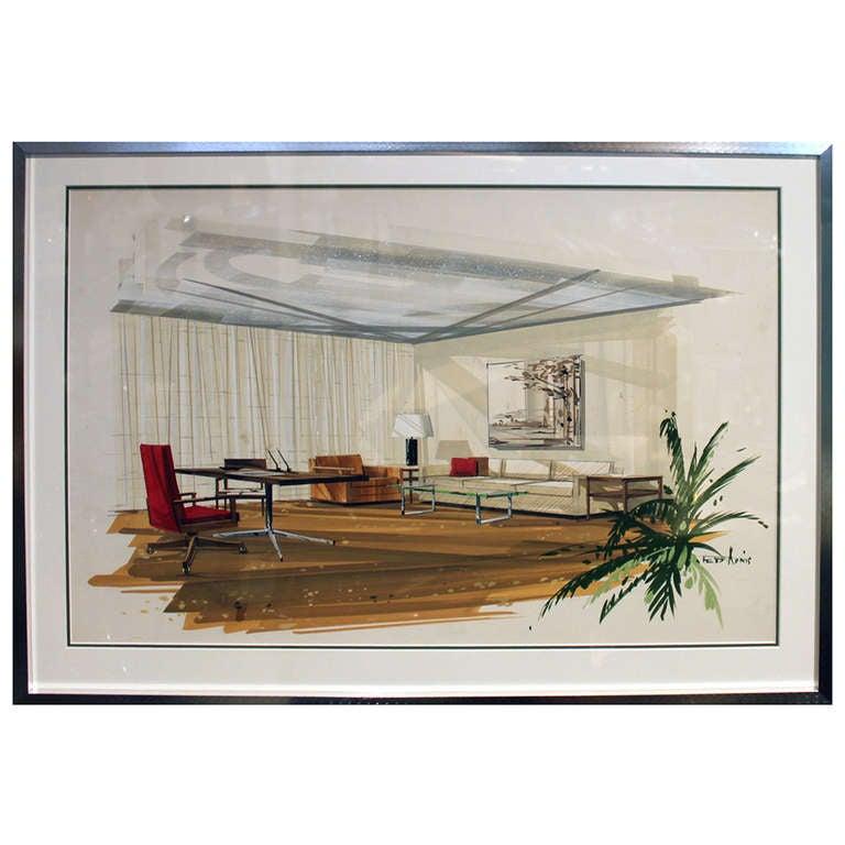 Mid 20th Century Architectural Interior Watercolor Rendering