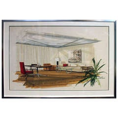 Mid 20th Century Architectural Interior Watercolor Rendering