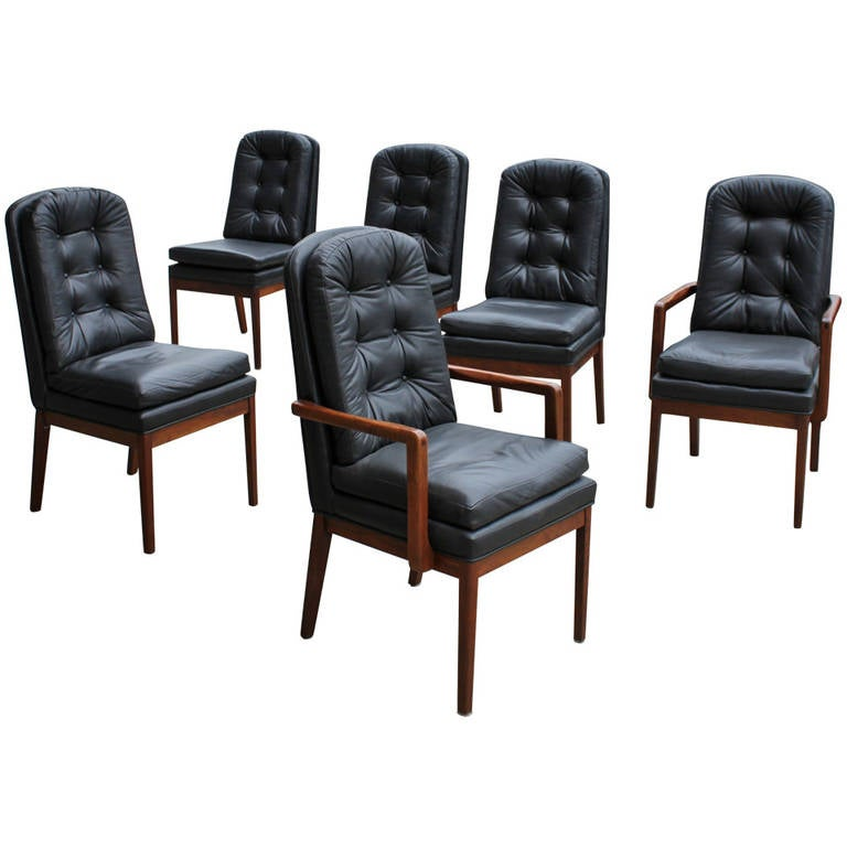 Set of Six Milo Baughman Style Dining Chairs