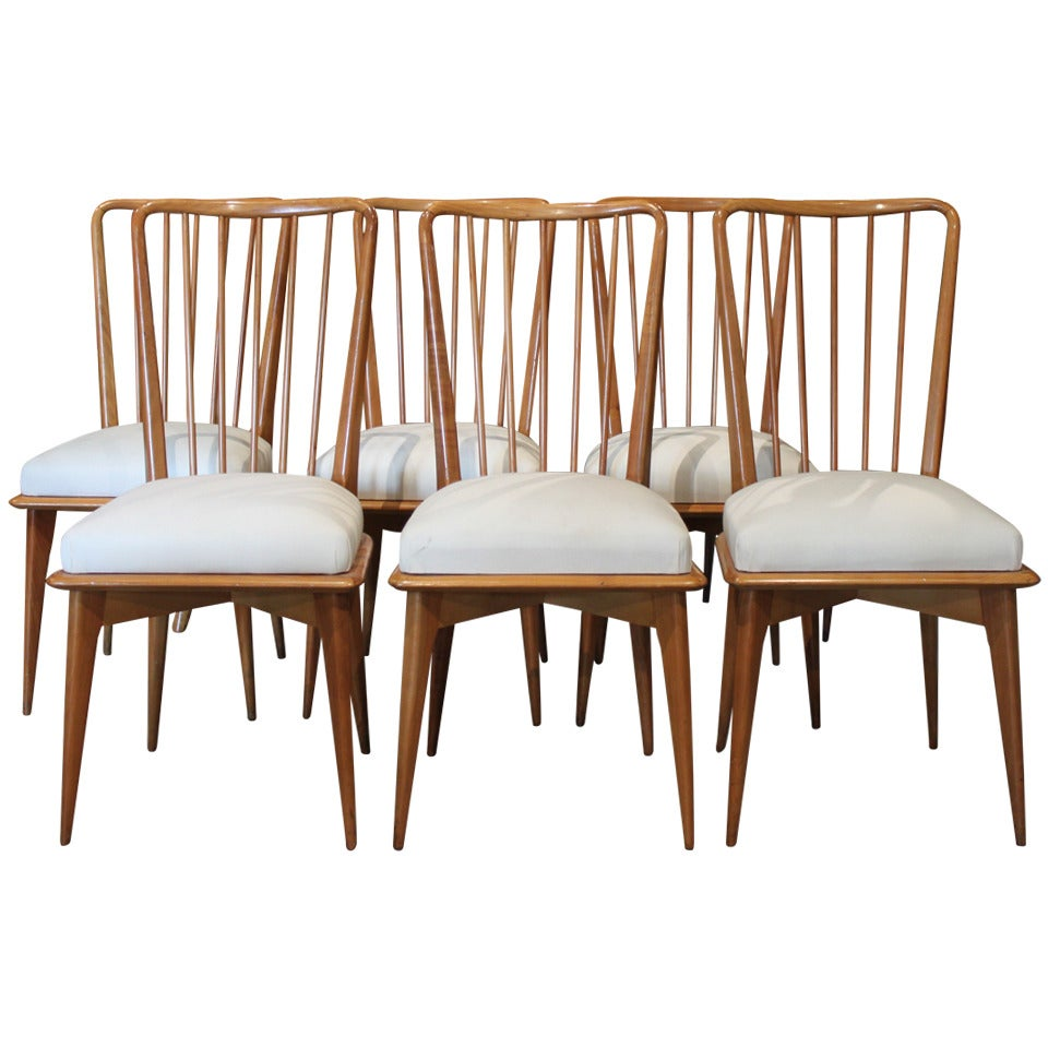 Mid Century Modern Italian Paolo Buffa Dining Chairs Set