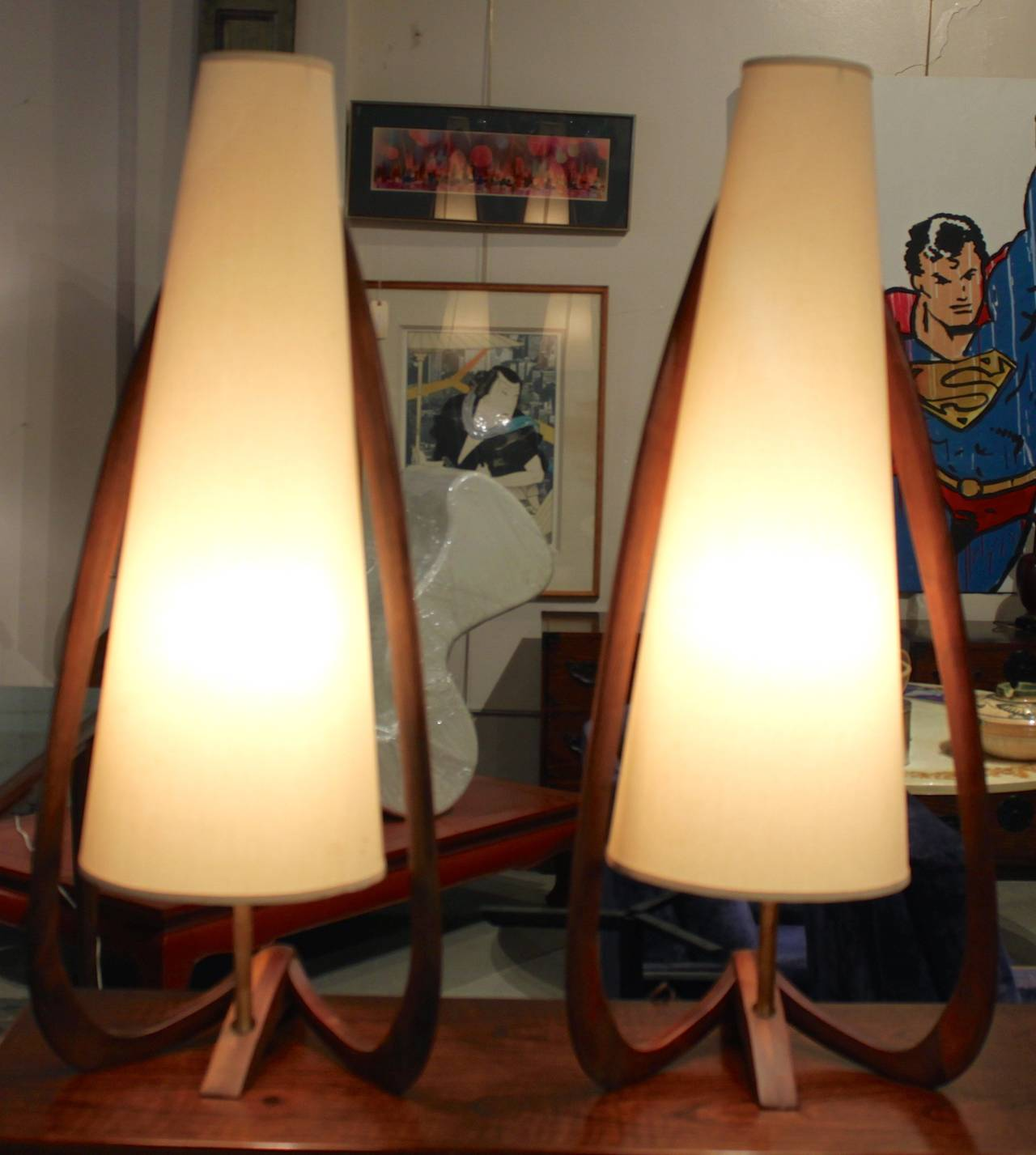 Rare Dramatic Oversized Adrian Pearsall Table Lamps Pair 3