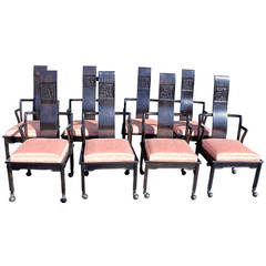 Set of Eight Chinese Inspired Mid-Century Modern Dining Chairs Widdicomb
