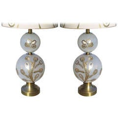 Exceptional Pair of Glass and Brass Mid 20th Century Lamps