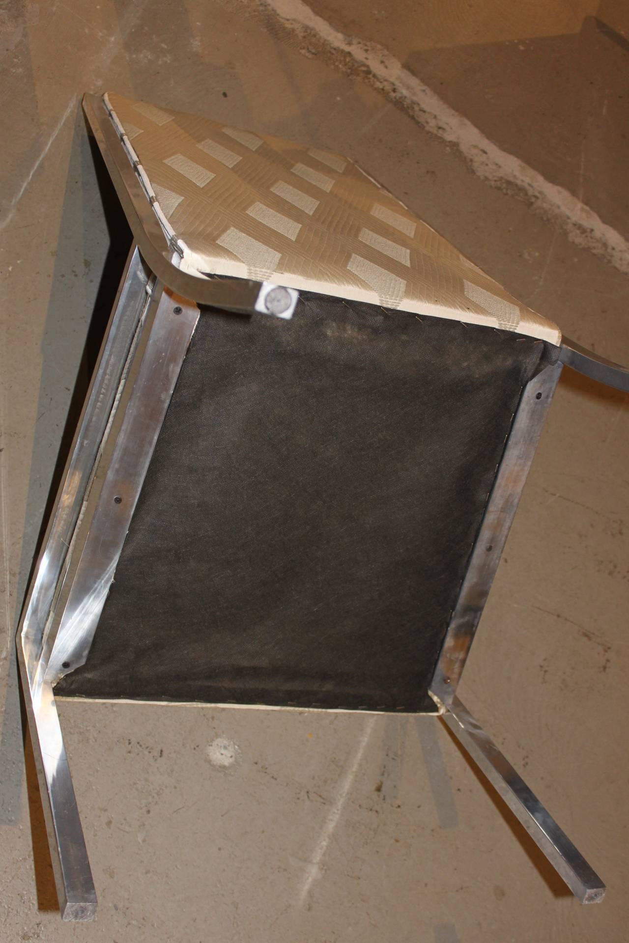 Set of 6 high back steel metal frame dining chairs style for Dining chairs metal frame