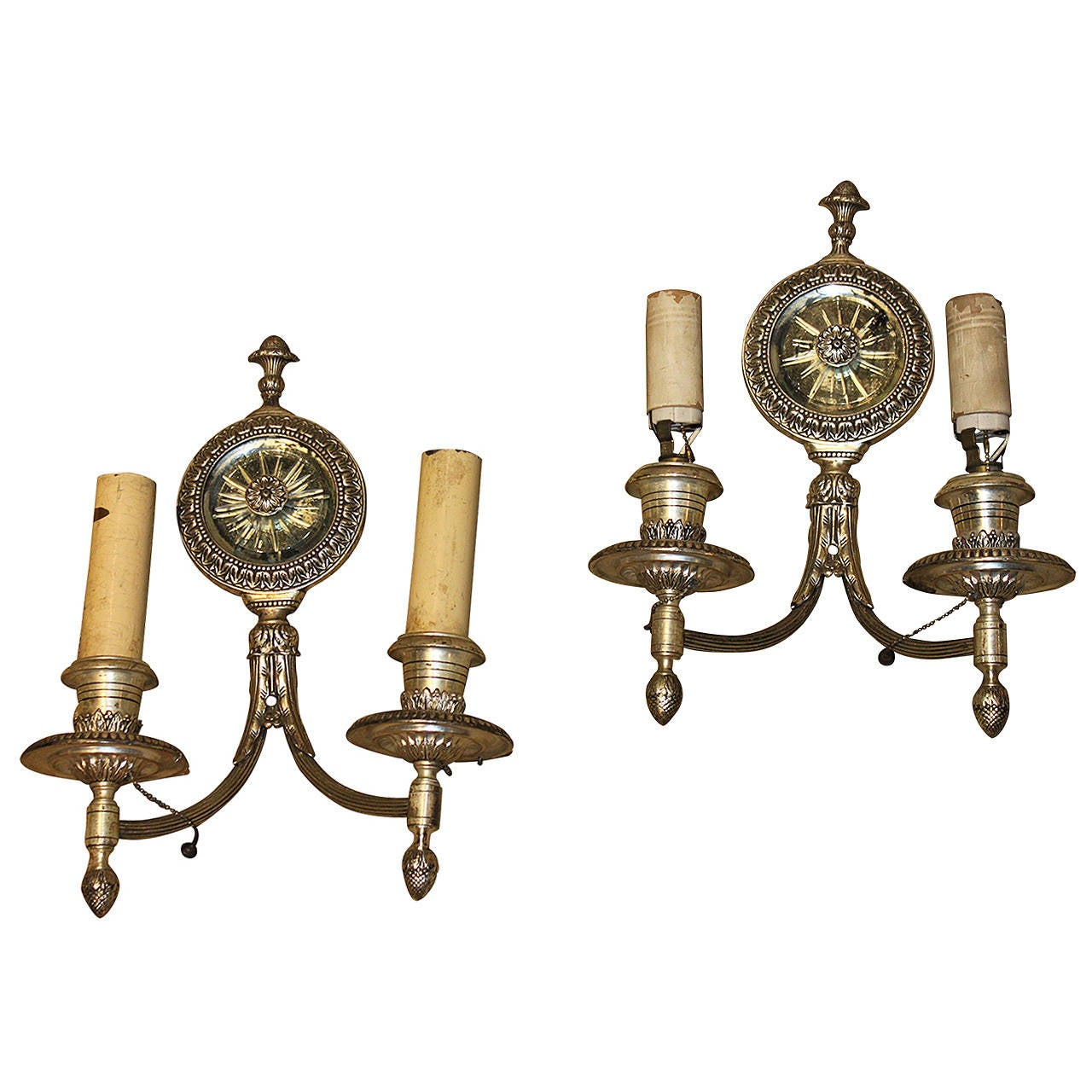 Wall Sconces Antique Silver : Pair of Antique Silver Mirror Wall Sconces For Sale at 1stdibs