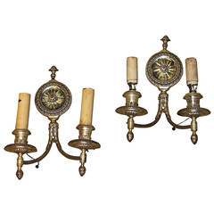 Pair of Antique Silver Mirror Wall Sconces