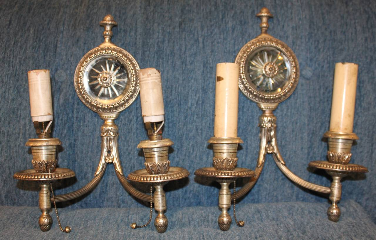 Pair of Antique Silver Mirror Wall Sconces For Sale at 1stdibs