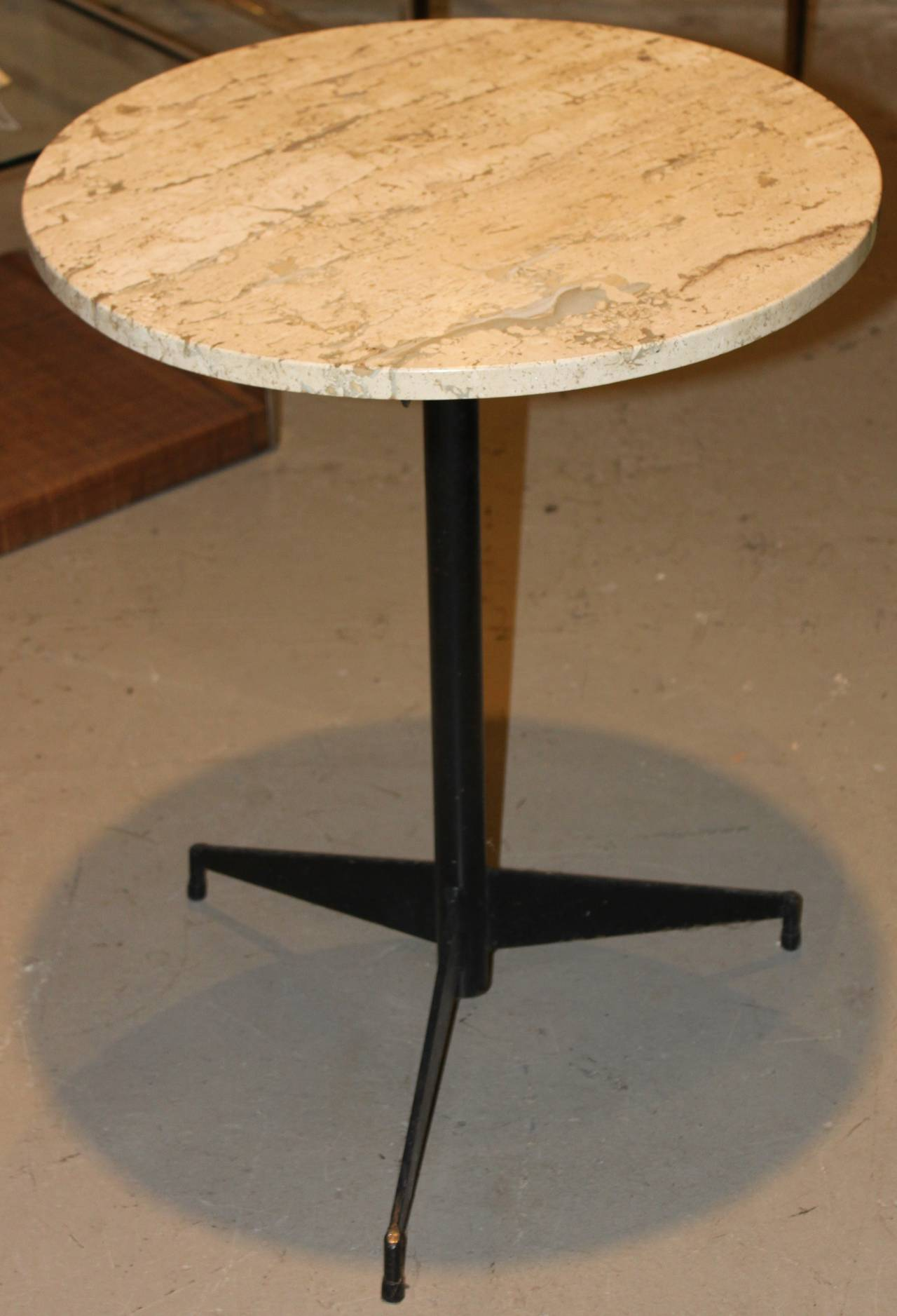 Travertine Marble Cocktail Table With Mid Century Iron Base At 1stdibs