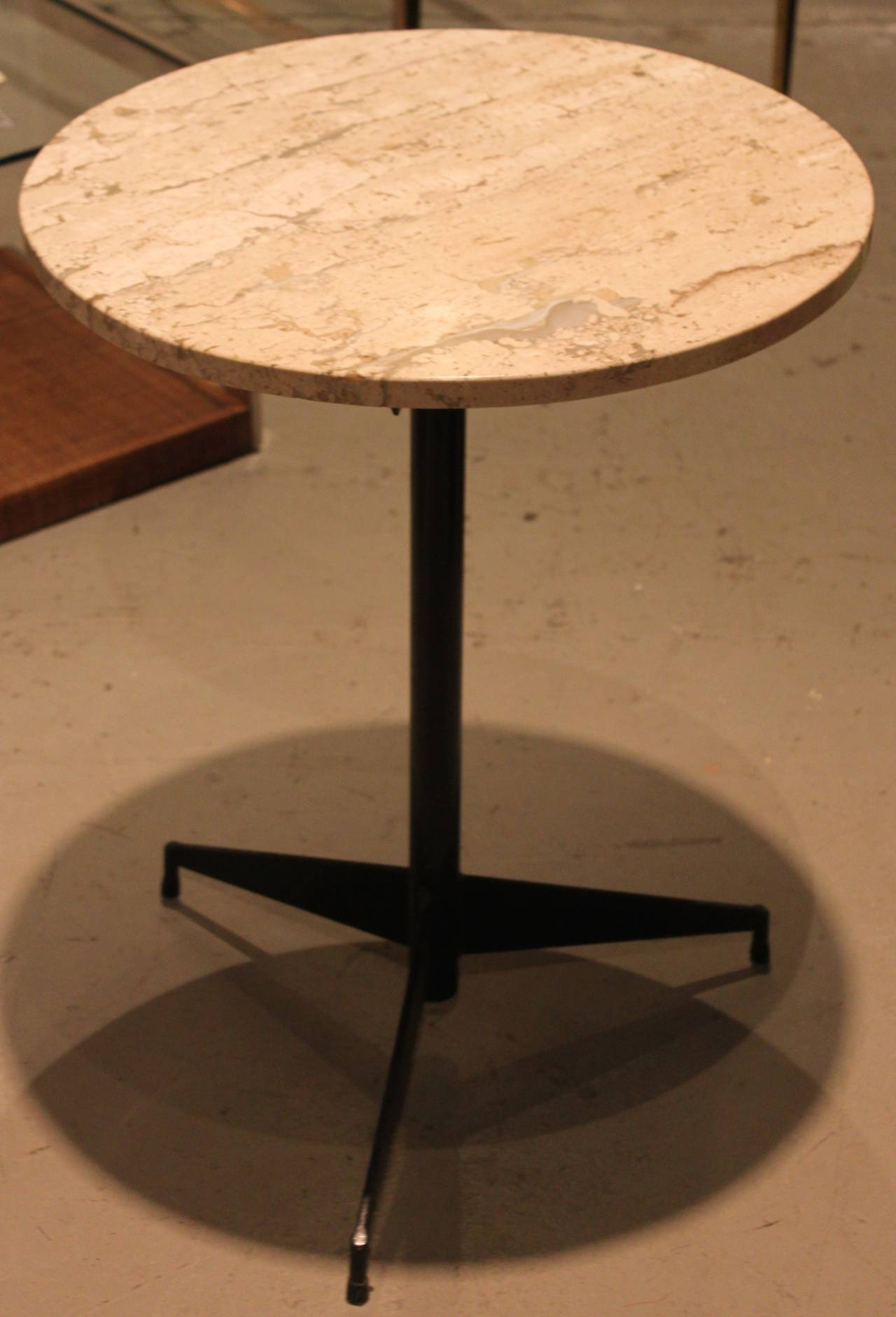 Travertine Marble Cocktail Table With Mid Century Iron