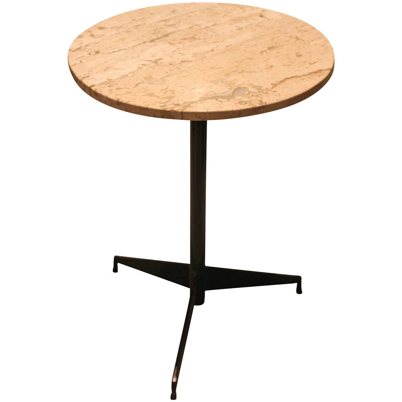 Travertine Marble Cocktail Table With Mid-Century Iron