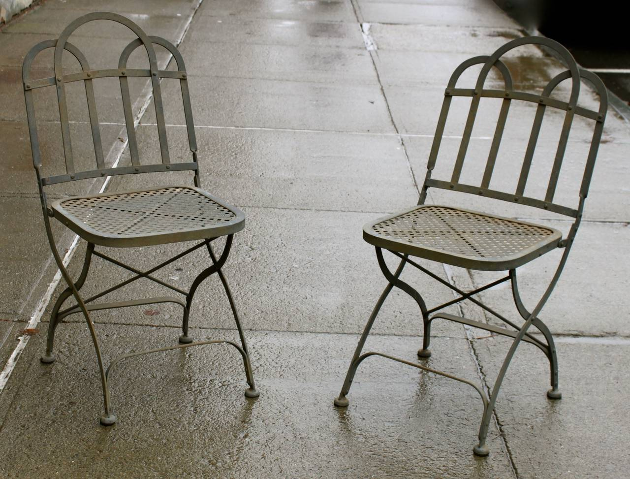 Vintage Heavy French Steel Folding Garden Chairs At 1stdibs
