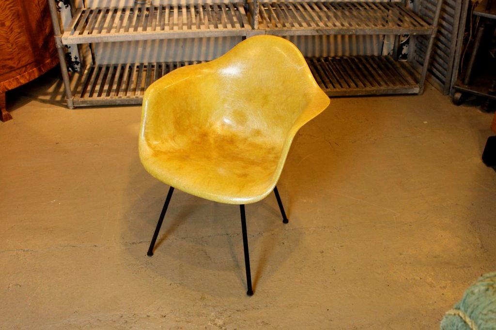 Early production Eames Zenith rope edge chair. Original paper label. Original shock mounts and feet. Black base.