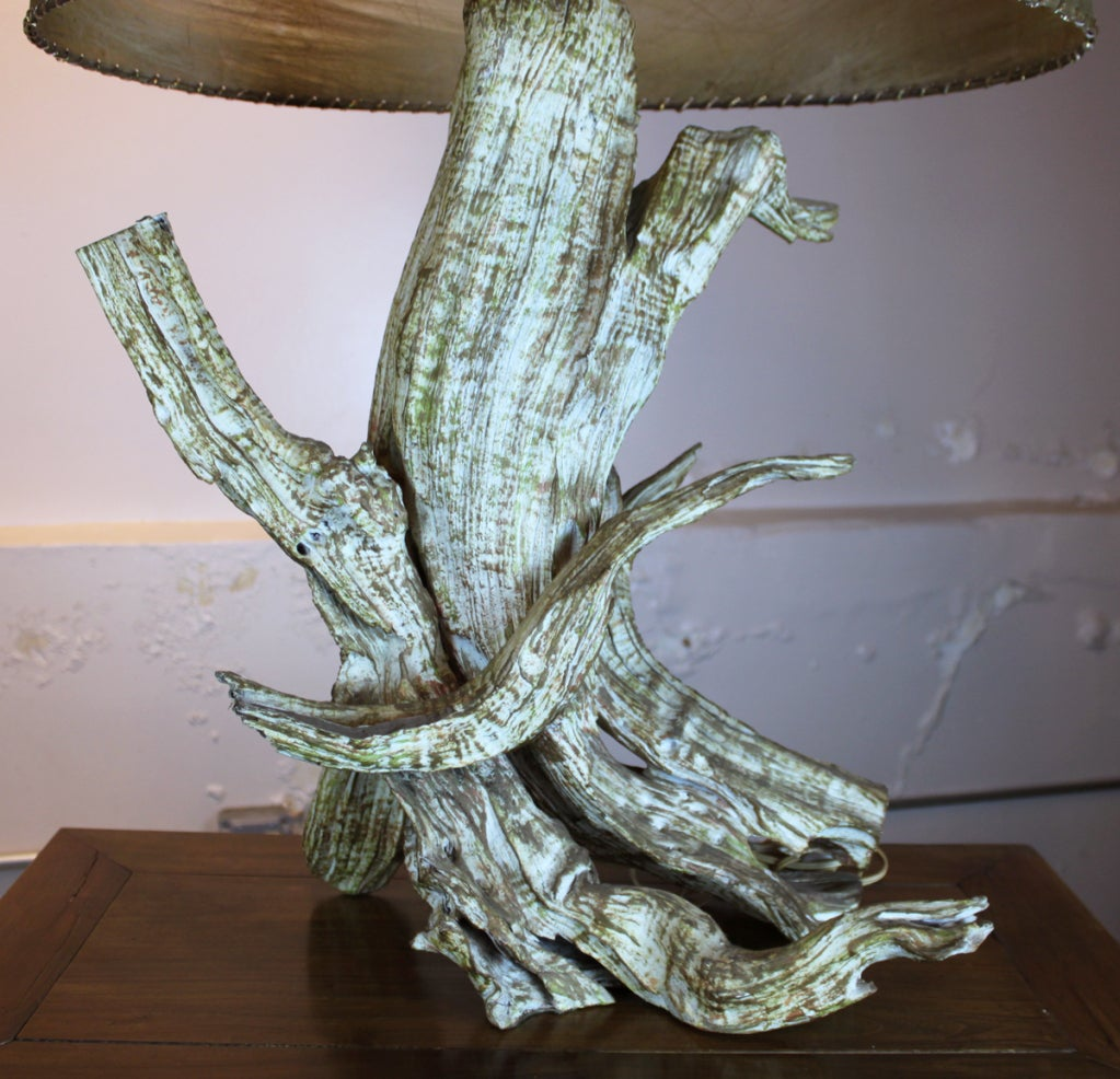 American Mid-Century Driftwood Table Lamp with Original Shade For Sale