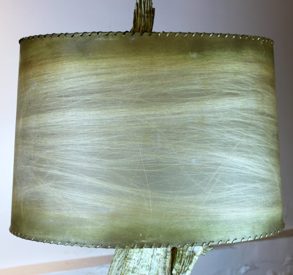 Mid-Century Driftwood Table Lamp with Original Shade For Sale 2
