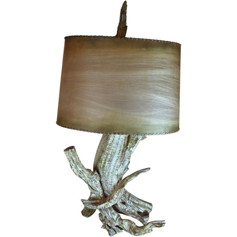 Mid-Century Driftwood Table Lamp with Original Shade For Sale