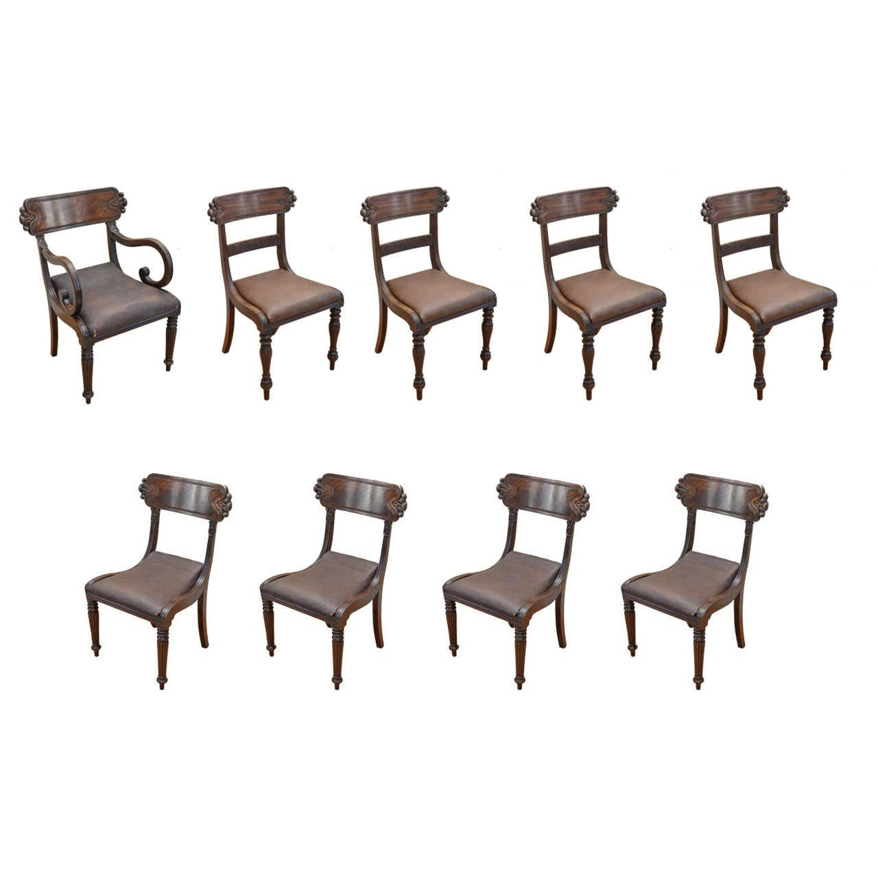 Set of Nine English Mahogany Late Regency Dining Chairs