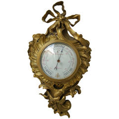 19th Century Gilded Bronze Barometer Signed Ronquetti, Paris
