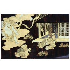 Lacquer and gold wood panel