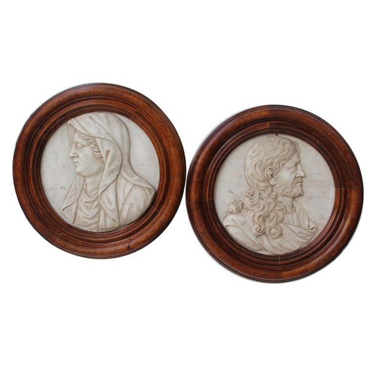 18th Century Italian Marble Carvings of Joseph and Mary