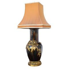 Art Nouveau Ceramic Vase Mounted in Lamp