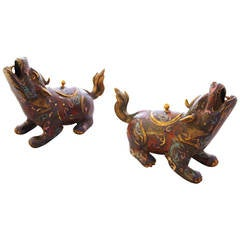 Pair of Chinese Cloisonné Bronze Figural Censers