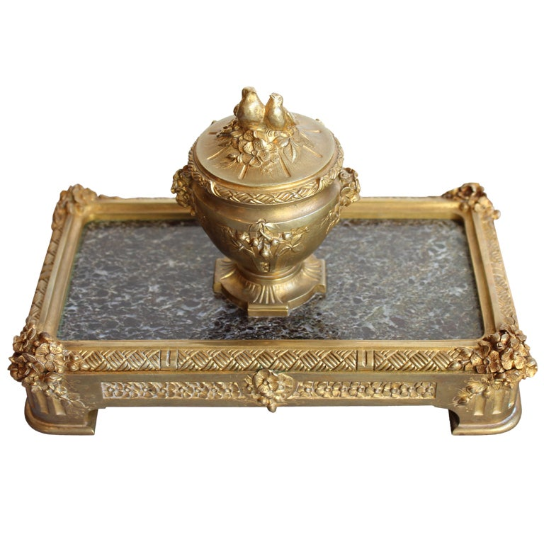 """Bronze Inkwell by """"Barbedienne"""" Paris For Sale"""
